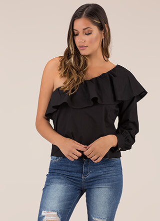 Ruffled Radiance One-Shoulder Top