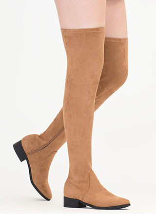 Walk My Way Faux Suede Thigh-High Boots