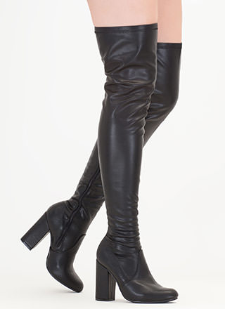 Walk-Off Faux Leather Thigh-High Boots