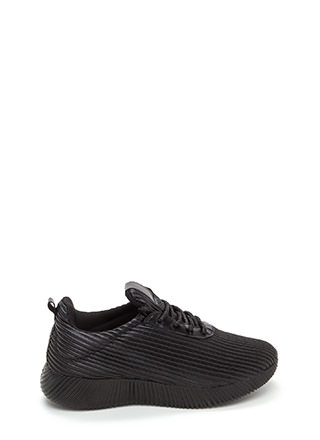 Curves And Ridges Faux Leather Sneakers