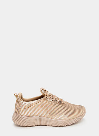 Curves And Ridges Metallic Sneakers