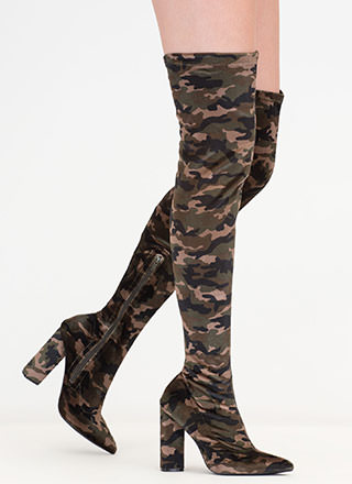 Camo Command Chunky Thigh-High Boots