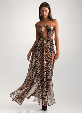 On The Prowl Cut-Out Leopard Maxi Dress
