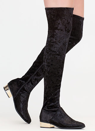 Gleam Girl Velvet Thigh-High Boots
