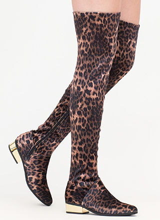 Gleam Girl Leopard Thigh-High Boots