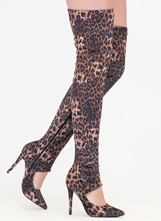 Cutting Edge Leopard Thigh-High Boots