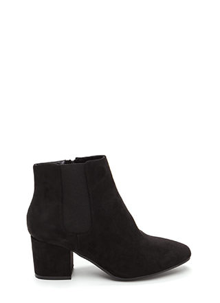 Chelsea Chic Chunky Faux Suede Booties