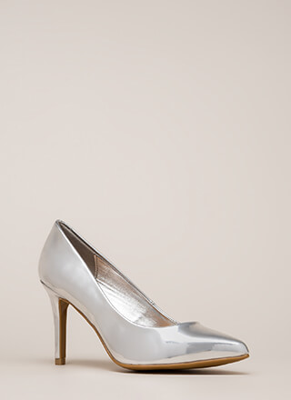 Get Pumped Pointy Faux Patent Heels