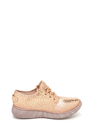 Casual Luxury Shiny Snakeskin Sneakers