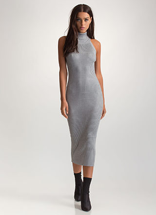 Crisscross Boss Turtleneck Midi Dress