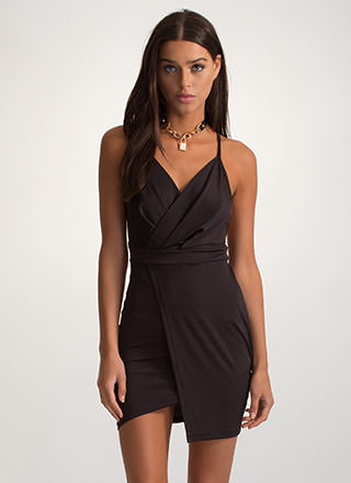 Style Staple Plunging Wrap Mini Dress