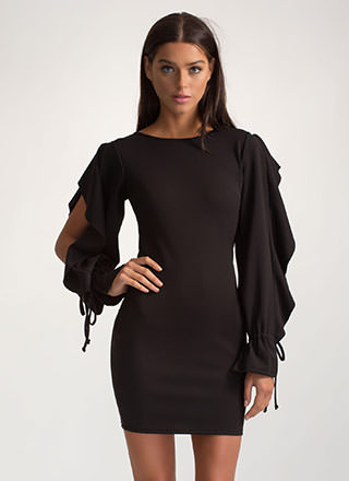 Looking For A Frill Ruffled Mini Dress