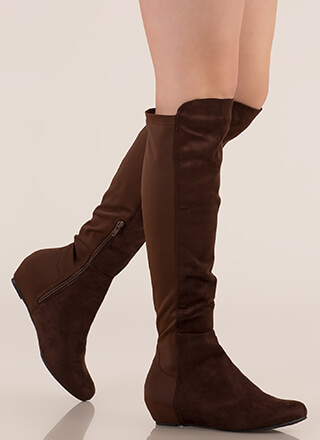 Mix A Lot Thigh-High Wedge Boots