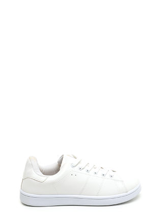 Kick Back Lace-Up Faux Leather Sneakers