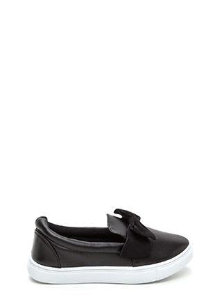 Just Bow With It Faux Leather Sneakers