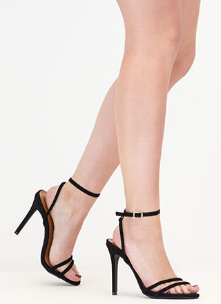 Chic Therapy Strappy Faux Suede Heels
