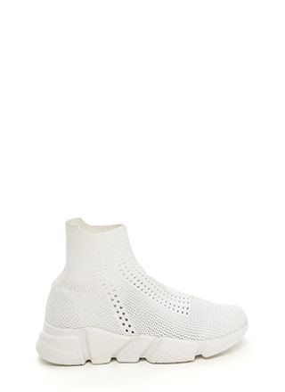 Athleisure Chic Textured Knit Sneakers