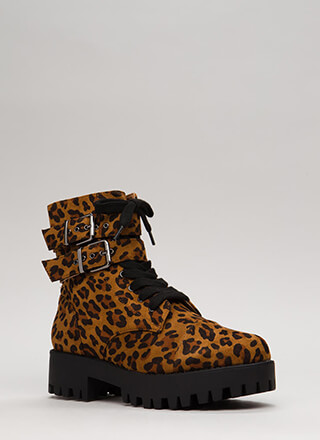 Lug Life Strappy Leopard Combat Boots
