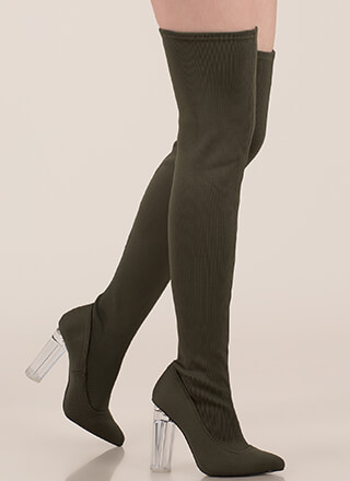 Knit Girl Style Chunky Thigh-High Boots