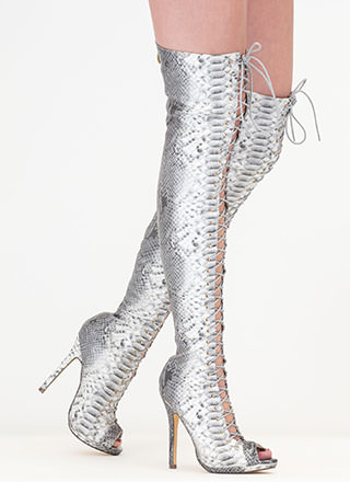 Snake It Easy Lace-Up Thigh-High Boots