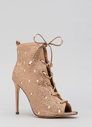 Studs And Stones Laced Metallic Booties