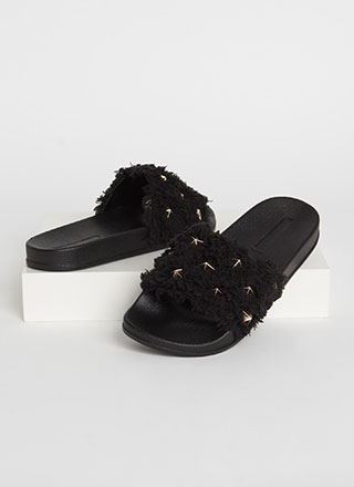 Star-Studded Shaggy Slide Sandals