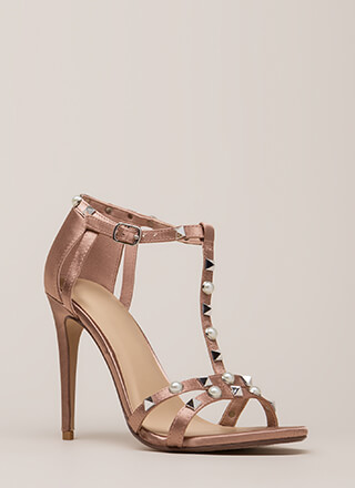 Studded With Pearls Strappy Satin Heels