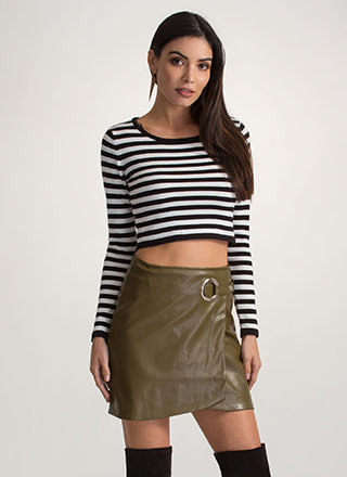 Ring It Up Faux Leather Wrap Skirt
