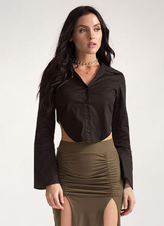 Taking It Back Tied Button-Up Top
