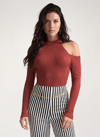 Knit Girl Status Cold Shoulder Top