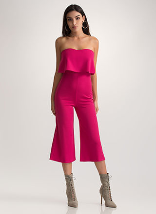 Crop It Like It's Hot Strapless Jumpsuit