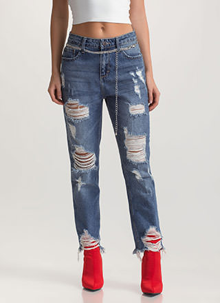 Let It Rip Distressed Boyfriend Jeans
