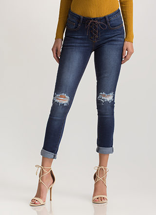 Laced 'N Loaded Distressed Skinny Jeans