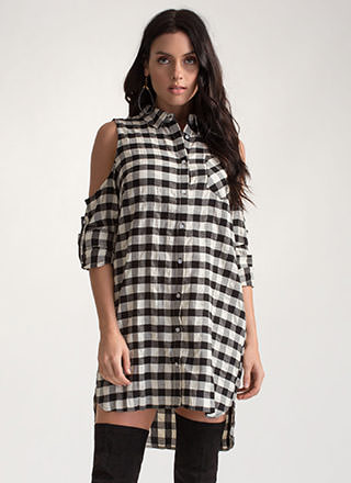 Check Please Cold Shoulder Shirt Dress
