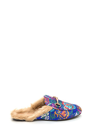 Furry Along Embroidered Mule Flats