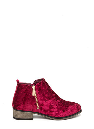 That's Zip Velvet Block Booties
