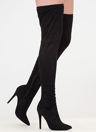 High Point Faux Suede Thigh-High Boots
