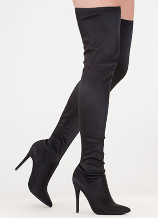 High Point Satin Thigh-High Boots