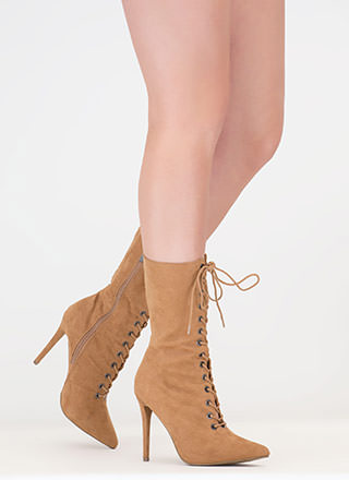 High Point Lace-Up Faux Suede Booties