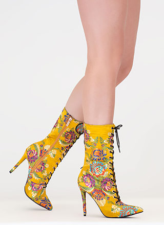 High Point Embroidered Satin Booties