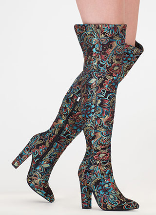 Point Up Embroidered Thigh-High Boots