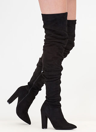 Slouch Forward Thigh-High Boots