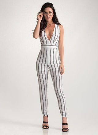 Cross Walk Striped Tied Jumpsuit