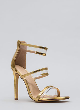 Wrapped In Straps Faux Patent Heels