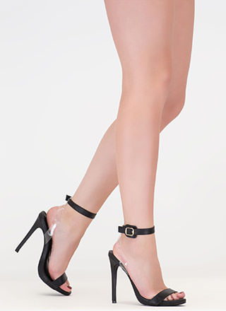 Illusion Faux Leather Ankle Strap Heels