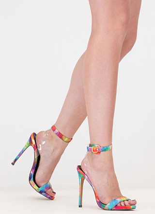 Illusion Rainbow Ankle Strap Heels