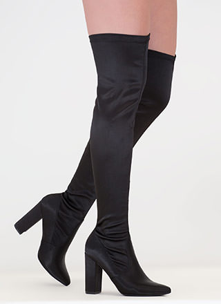 On Point Chunky Satin Thigh-High Boots