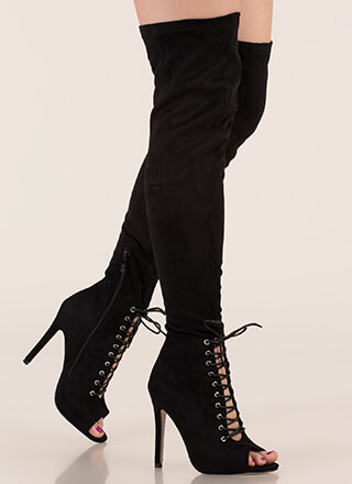 Let's Lace Peep-Toe Thigh-High Boots