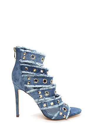 By All Jeans Studded Strappy Caged Heels