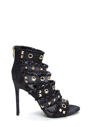 Jean Streak Studded Strappy Caged Heels